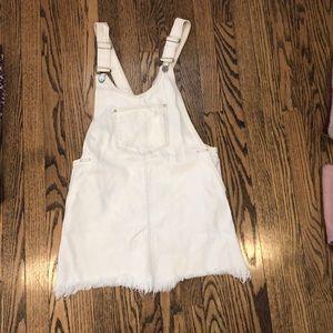 Zara white denim overall dress